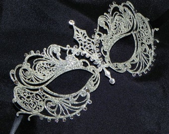 Ivory and Silver Metallic Filigree Masquerade Mask
