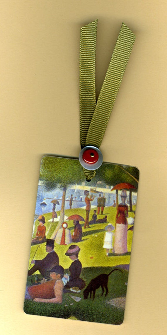 Handmade Bookmark SUNDAY AFTERNOON Vintage Playing Card & Button with Grosgrain Ribbon