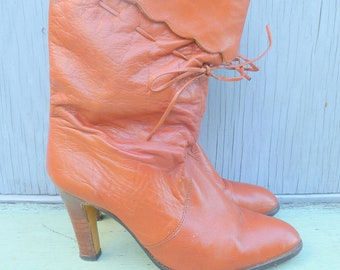 70s rust orange cuffed leather slouchy vintage boot