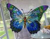 Butterfly giant blues purple and green  any color window cling
