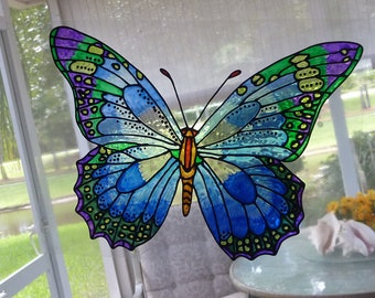 butterfly giant blues purple and green any color window cling - Window Clings