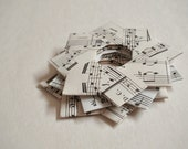 "Vintage paper folded stars (Music). Gift decoration. 4"" x 4"".  Pack of 3."