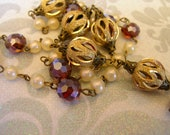 LC4 Handmade Linked Chain with Glass pearls, Crystals and etched brass beads