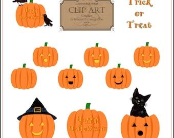 INSTANT DOWNLOAD Halloween Jack-o-Lantern Clip Art Set No. 259L