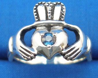 Light Blue Sapphire Claddagh Ring, Recycled Sterling Silver, September birthstone