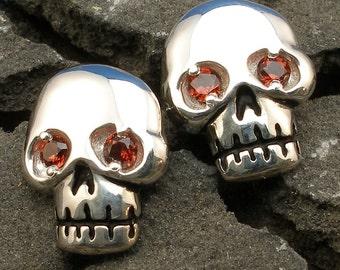 Skull Earrings, Garnet Eyes, Hand Crafted Sterling Silver, post stud earrings, January birthstone