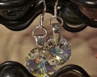 Swarovski Octagon Crystal and Sterling Silver Earrings - 1