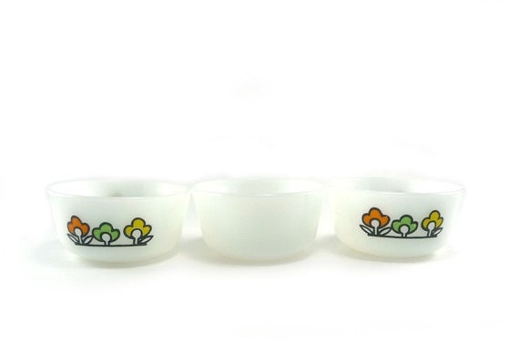 HOLIDAY SALE Trio of Fire King custard dishes - Summerfield vintage baking cups collectible glass