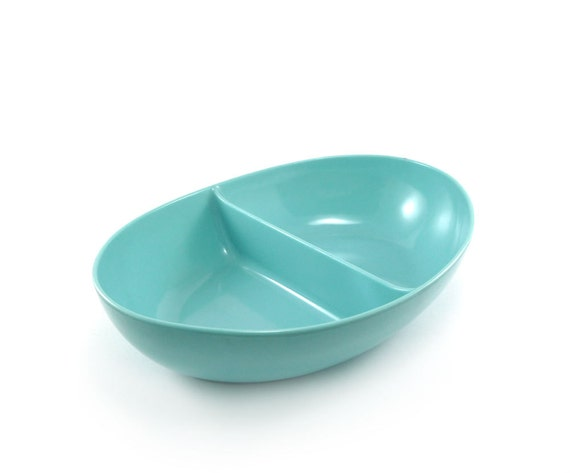 Aqua Melamine Serving Dish Divided Vintage By Reconstitutions