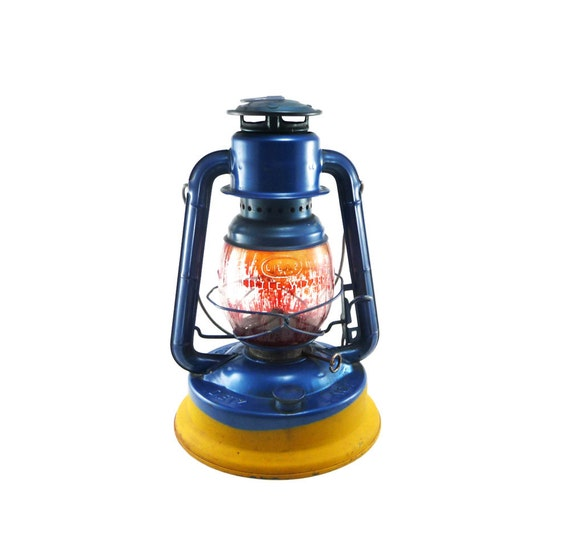 Vintage railroad lantern - Dietz No 1 Little Wizard blue and yellow with red globe