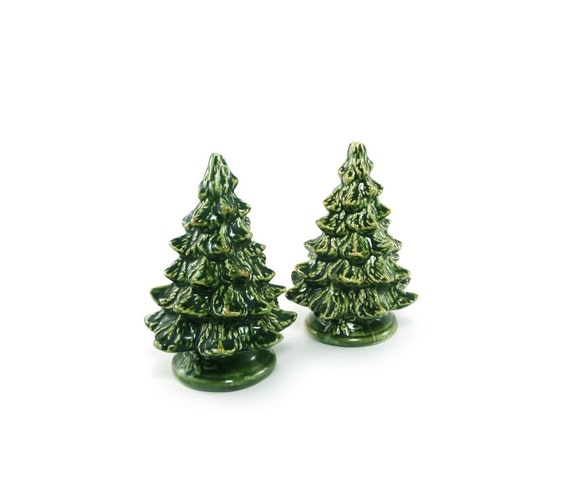 Pine Tree Salt And Pepper Shakers Green Woodland Decor