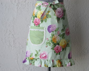 Beautiful Roses Shabby Chic Apron with a hint of Lace- Ready to ship