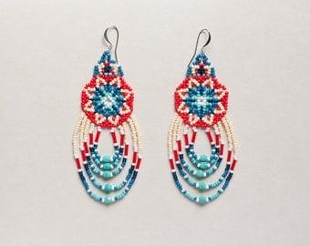 Huichol inspired flower pattern beaded earrings