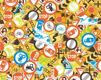Riley Blake Fabric - 1 Yard of On The Go Signs in Multi