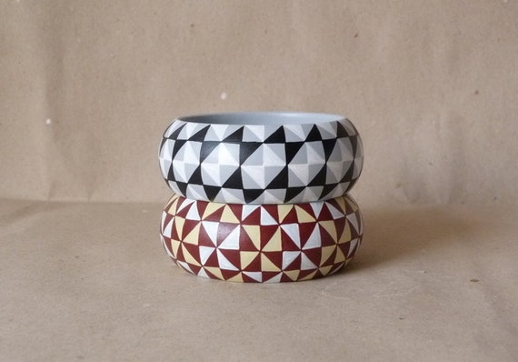 All tiled up handpainted wooden bracelet - set of 2 by Aramar