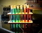 12 Test Tubes Corks and Wooden Holder Mad Scientist Lab