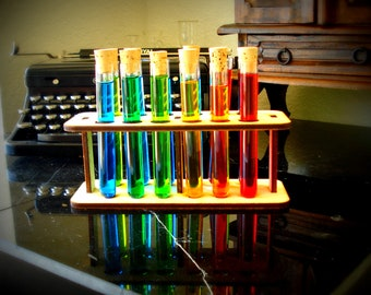 12 Test Tubes Corks and Wooden Holder Mad Scientist Lab