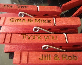 100 Custom Clothespin Wedding Favors Red place card holders