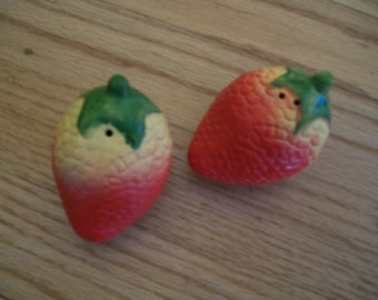 Vintage strawberry salt and pepper shakers. One of a kind.