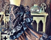 NEW Victorian Steampunk Edwardian Brown and Black Damask Bustle Skirt