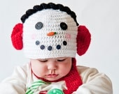 Snowman Winter Newborn Photography Prop White with earmuffs.