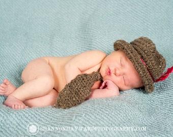 Fedora, Photography Prop Newborn Fedora and Tie Combo -Grey or Brown