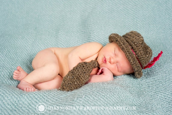Fedora, Photography Prop Newborn Fedora and Tie Combo -Grey or Brown