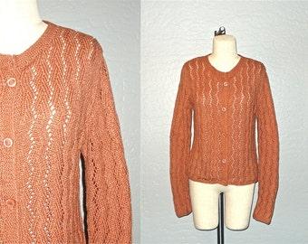 Vintage 70s sweater TERRA COTTA open knit boho cardigan - S/M