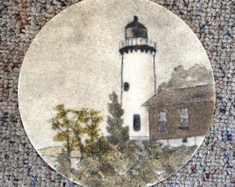 "Eagle Harbor Light lighthouse original sand painting 7"" circle art work Michigan lighthouse painting Great Lakes nautical"