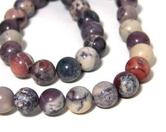 8mm Mexican Porcelain Jasper, round natural gemstone bead, Terra Rosa Jasper beads, full or half strands  (558S)