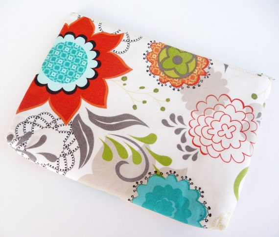 Power Cord Pouch for Laptop, iPad, Kindle or Cellphones - Flourish Floral in Cream