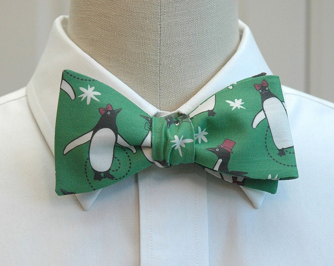 Men's Bow Tie, green penguins bow tie, fun holiday bow tie, skating penguins bow tie, Christmas gift for men, cute Christmas bow tie for men