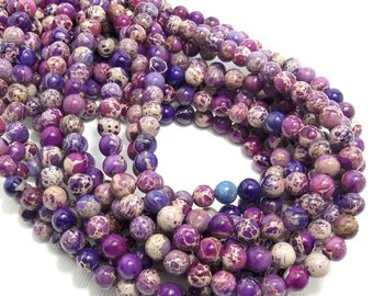 Impression Stone, Purple, Mixed, Gemstone Beads, Round, Smooth, 6mm, Small, 66pcs, Full-Strand - ID 1227