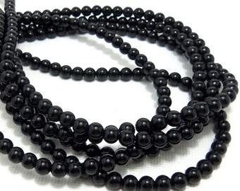 Black Onyx, High Quality, Gemstone Beads, Round, Smooth, 4mm, Very Small, Full Strand, 95 pcs - ID 1155