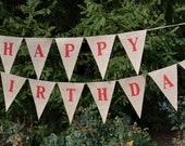 Happy Birthday banner   ....   Burlap Banner