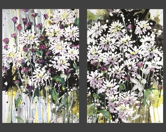 Diptych No.8  flowers, limited edition of 50 fine art giclee prints from my original watercolor