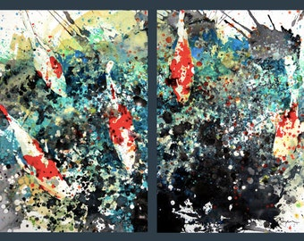 Diptych No.10 koi fish,   limited edition of 50 fine art giclee prints