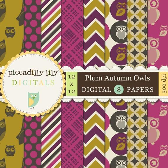 Instant Download - Plum Autumn Owls -- 12x12 Digital Printable Scrapbook Paper Pack -- Buy 3 Digital Paper Packs Get 1 FREE