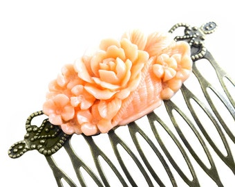 Get 15% OFF - Peachy Pink Cabochon Resin Flower Antique Bronze Filigree Hair Comb - Labor Day SALE 2017