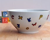 Alphabet and Numbers Cereal Bowl, Soup Bowl - Hand Painted - Back to School
