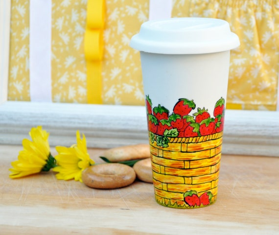 Porcelain Travel Mug - Hand Painted Ceramic Eco Cup with Lid - Black Friday - Cyber Monday