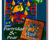 Partridge & Pear PDF Pattern for Stained glass or aluminum embossing, Christmas, decoration