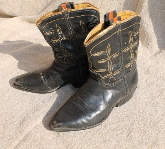 toddler cowboy boots in black and gold vintage