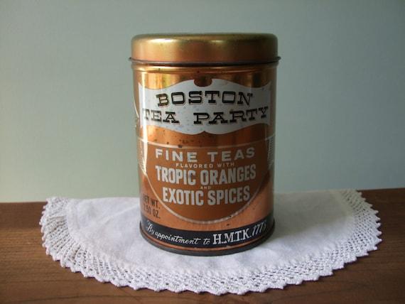Vintage Boston Tea Party Tin Copper Kitchen Decor