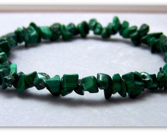 Stretch Bracelet - Gemstone Bracelet - Natural Malachite Bracelet, Malachite Chips, Bead Bracelet, Gemstone Jewelry