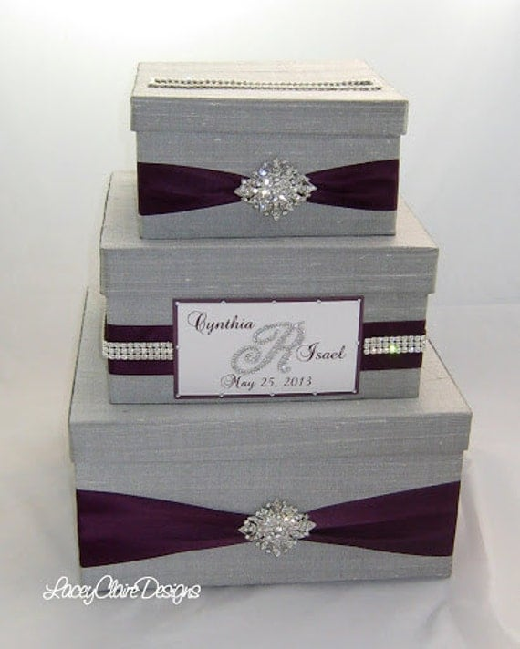 Wedding Gift Box, Bling Card Box, Rhinestone Money Holder - Custom ...