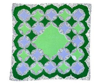 RETRO HANKIE, Mid-Century, Geometric Grid, Spring Green, Cerulean Blue, Dark Green, Ink Filigree Florals, Excellent  Condition