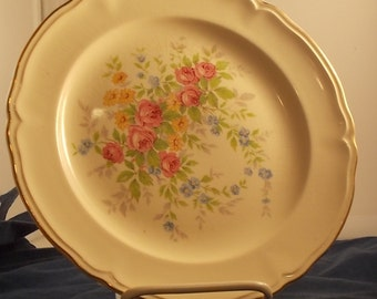 Edwin M Knowles Semi Vitreous Dinner Plate, Floral design, replacement, dinnerware, discontinued