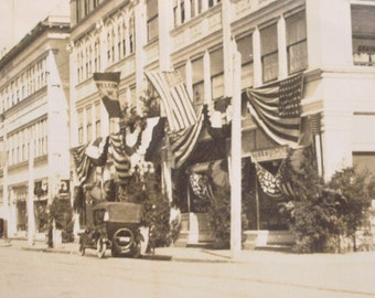 Antique Photo - Americana - Patriotic Celebration Street Scene with American Flags - Vintage Car