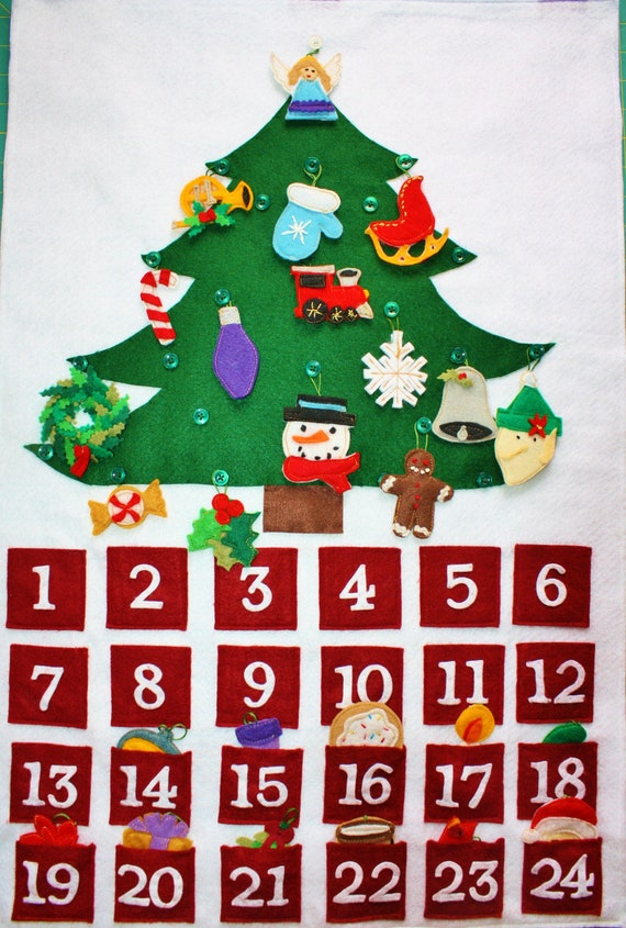 Felt Advent Calendar Christmas countdown by KennasFeltForest